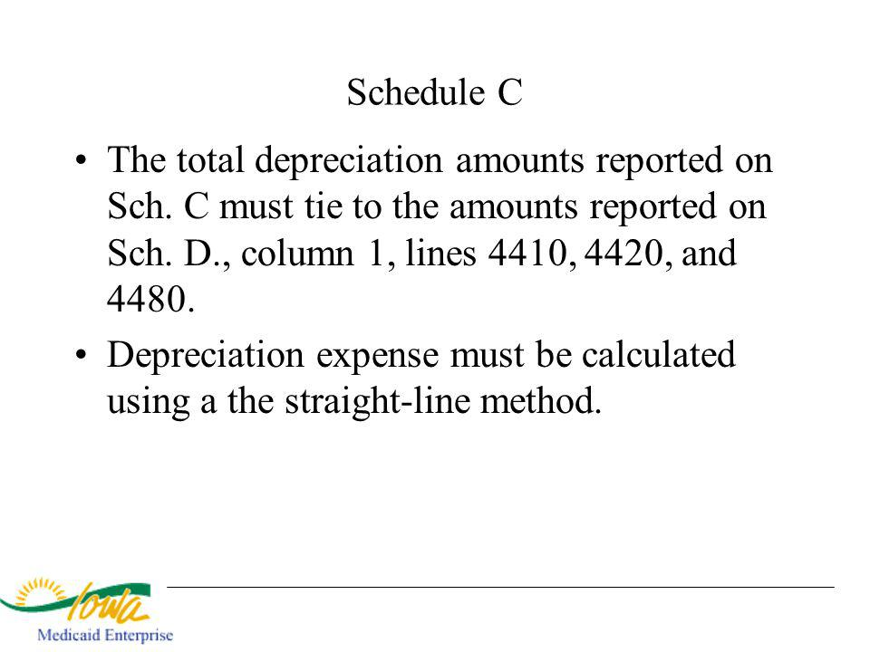 Schedule C The total depreciation amounts reported on Sch.