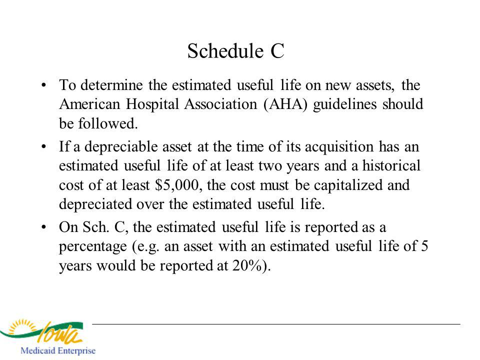 Schedule C To determine the estimated useful life on new assets, the American Hospital Association (AHA) guidelines should be followed. If a depreciab