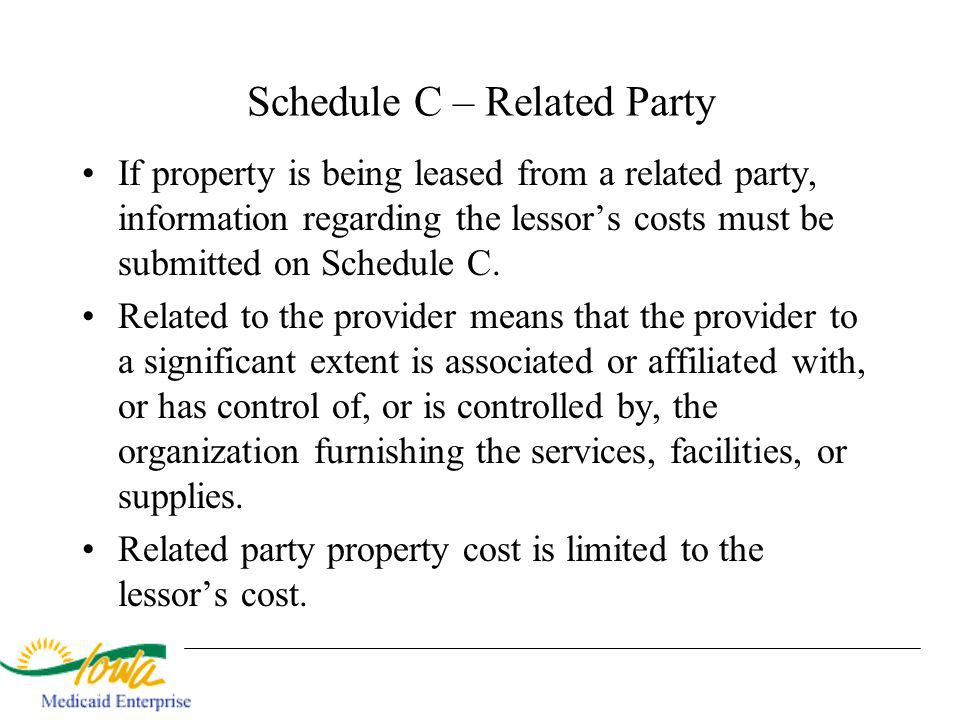 Schedule C – Related Party If property is being leased from a related party, information regarding the lessors costs must be submitted on Schedule C.