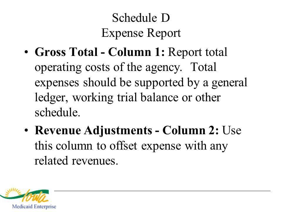 Schedule D Expense Report Gross Total - Column 1: Report total operating costs of the agency. Total expenses should be supported by a general ledger,