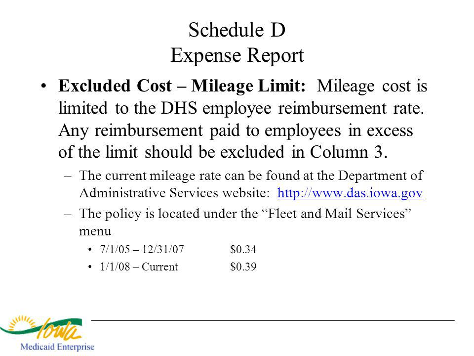 Schedule D Expense Report Excluded Cost – Mileage Limit: Mileage cost is limited to the DHS employee reimbursement rate.