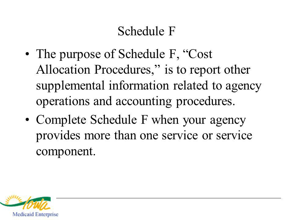 Schedule F The purpose of Schedule F, Cost Allocation Procedures, is to report other supplemental information related to agency operations and accounting procedures.