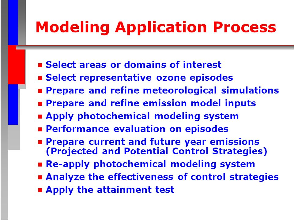 Modeling Application Process n Select areas or domains of interest n Select representative ozone episodes n Prepare and refine meteorological simulations n Prepare and refine emission model inputs n Apply photochemical modeling system n Performance evaluation on episodes n Prepare current and future year emissions (Projected and Potential Control Strategies) n Re-apply photochemical modeling system n Analyze the effectiveness of control strategies n Apply the attainment test