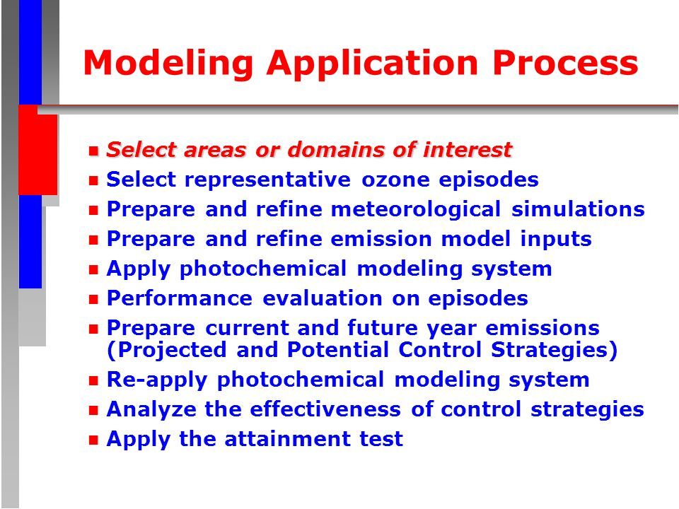 Modeling Application Process n Select areas or domains of interest n Select representative ozone episodes n Prepare and refine meteorological simulati