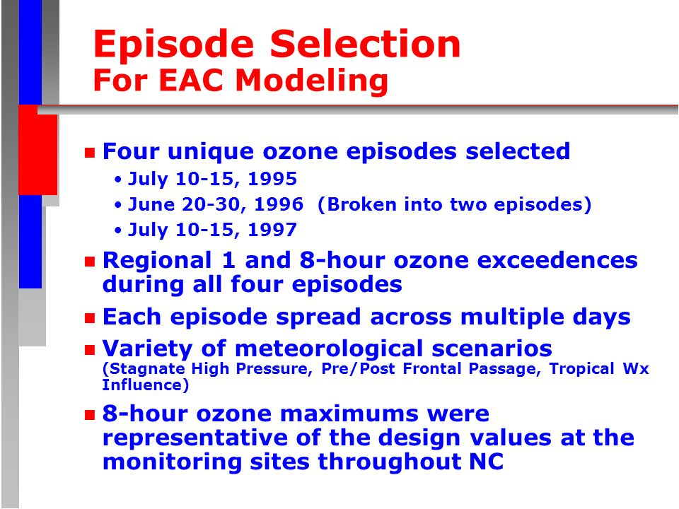 Episode Selection For EAC Modeling n Four unique ozone episodes selected July 10-15, 1995 June 20-30, 1996 (Broken into two episodes) July 10-15, 1997 n Regional 1 and 8-hour ozone exceedences during all four episodes n Each episode spread across multiple days n Variety of meteorological scenarios (Stagnate High Pressure, Pre/Post Frontal Passage, Tropical Wx Influence) n 8-hour ozone maximums were representative of the design values at the monitoring sites throughout NC