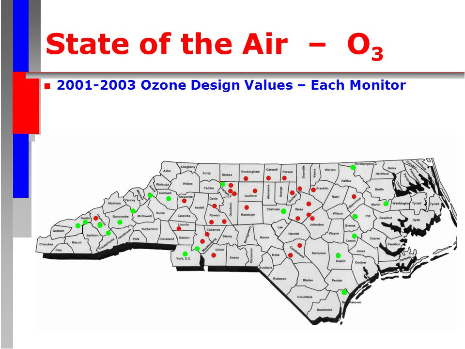 State of the Air – O 3 n Ozone Design Values – Each Monitor