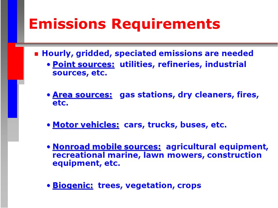 Emissions Requirements n Hourly, gridded, speciated emissions are needed Point sources:Point sources: utilities, refineries, industrial sources, etc.