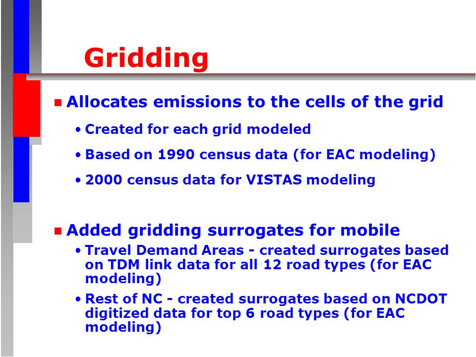 Gridding n Allocates emissions to the cells of the grid Created for each grid modeled Based on 1990 census data (for EAC modeling) 2000 census data fo