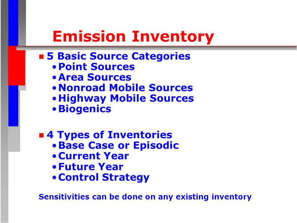 Emission Inventory n 5 Basic Source Categories Point Sources Area Sources Nonroad Mobile Sources Highway Mobile Sources Biogenics n 4 Types of Inventories Base Case or Episodic Current Year Future Year Control Strategy Sensitivities can be done on any existing inventory