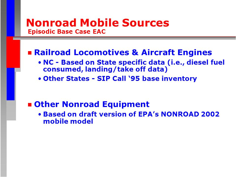 Nonroad Mobile Sources Episodic Base Case EAC n Railroad Locomotives & Aircraft Engines NC - Based on State specific data (i.e., diesel fuel consumed, landing/take off data) Other States - SIP Call 95 base inventory n Other Nonroad Equipment Based on draft version of EPAs NONROAD 2002 mobile model