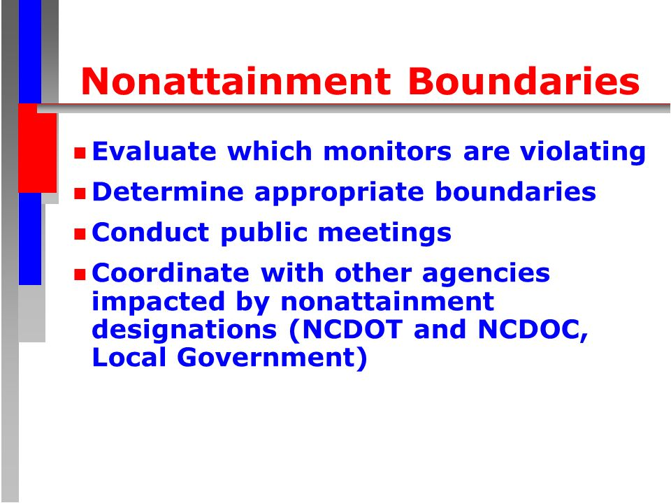 Nonattainment Boundaries n Evaluate which monitors are violating n Determine appropriate boundaries n Conduct public meetings n Coordinate with other
