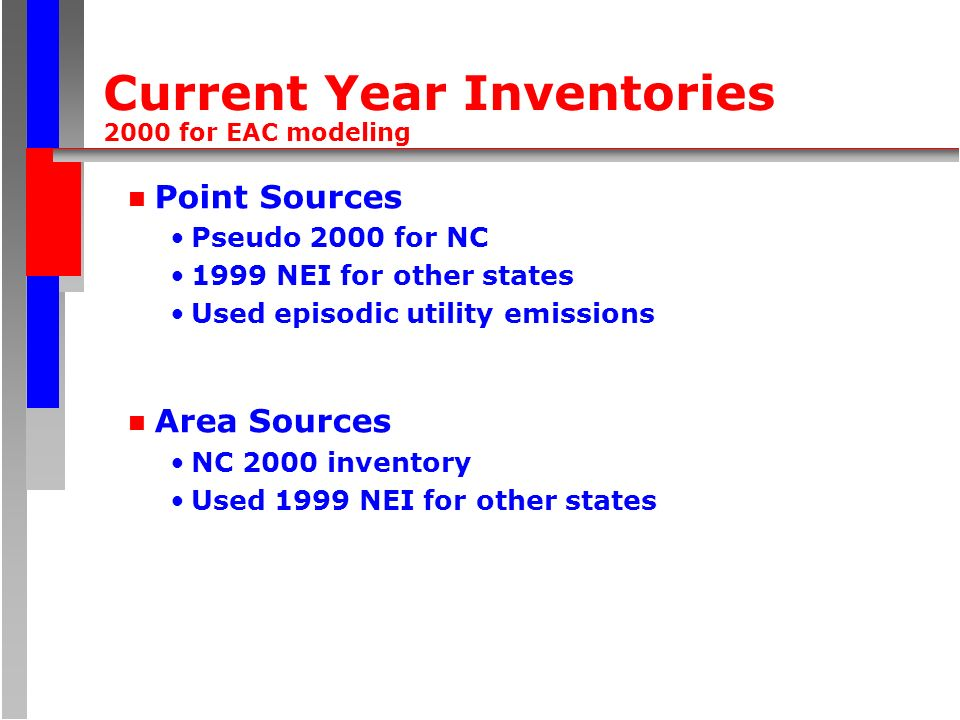 Current Year Inventories 2000 for EAC modeling n Point Sources Pseudo 2000 for NC 1999 NEI for other states Used episodic utility emissions n Area Sources NC 2000 inventory Used 1999 NEI for other states
