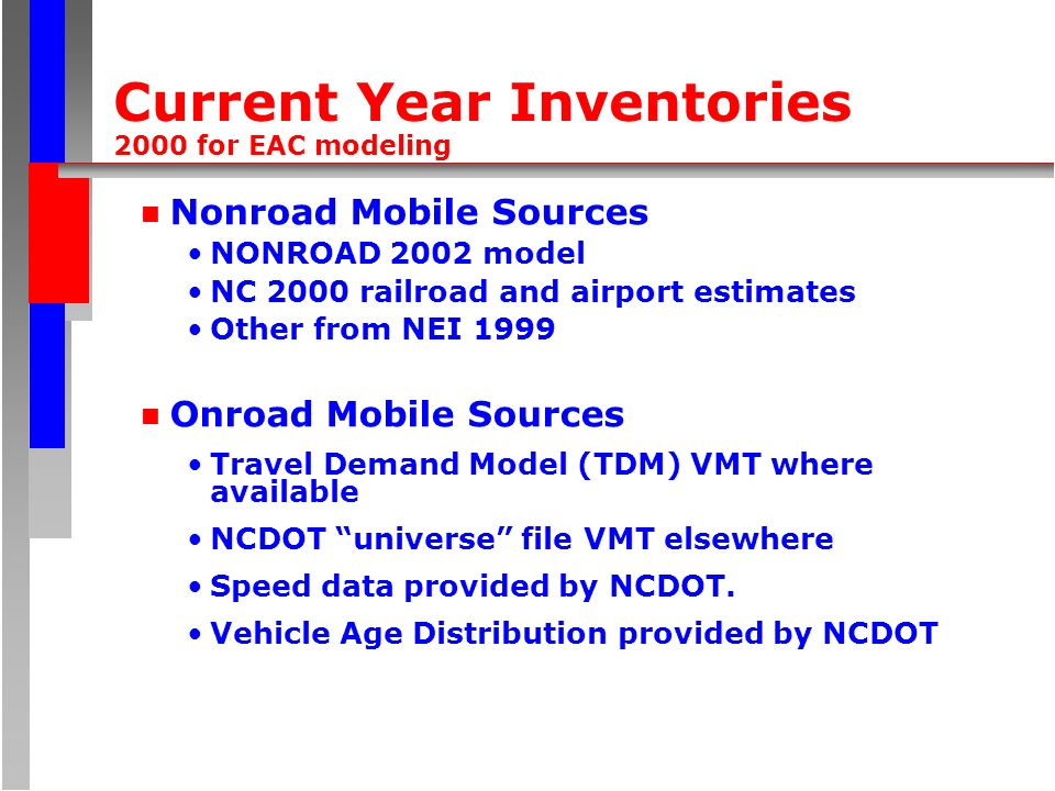 Current Year Inventories 2000 for EAC modeling n Nonroad Mobile Sources NONROAD 2002 model NC 2000 railroad and airport estimates Other from NEI 1999