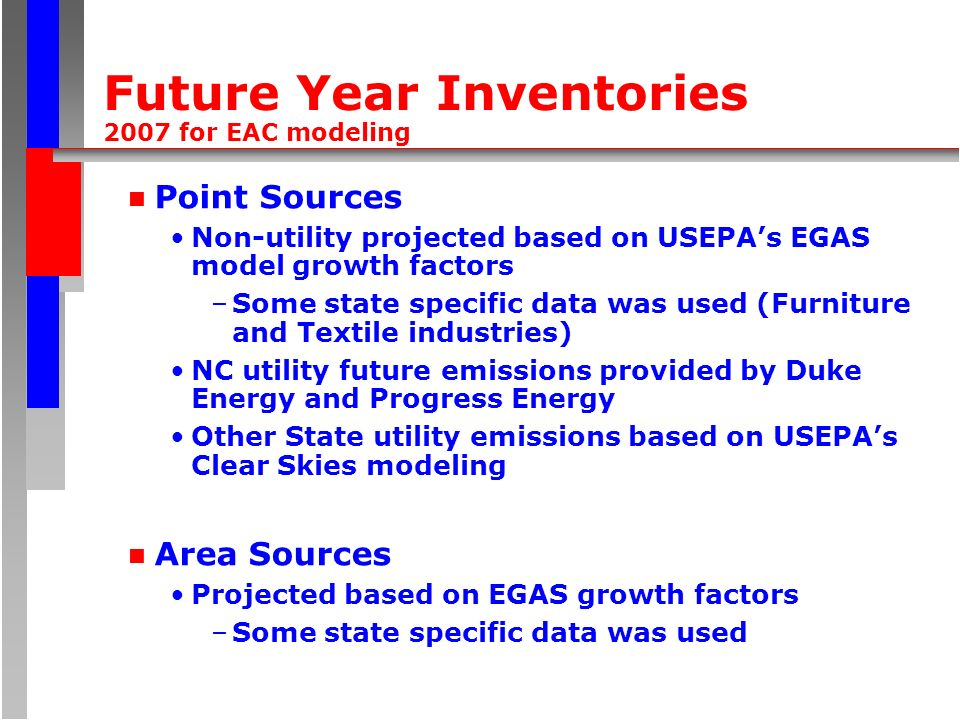 Future Year Inventories 2007 for EAC modeling n Point Sources Non-utility projected based on USEPAs EGAS model growth factors –Some state specific dat