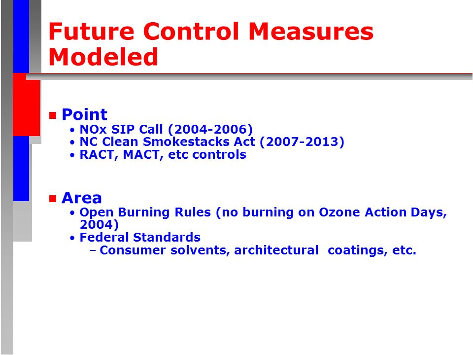 Future Control Measures Modeled n Point NOx SIP Call (2004-2006) NC Clean Smokestacks Act (2007-2013) RACT, MACT, etc controls n Area Open Burning Rul