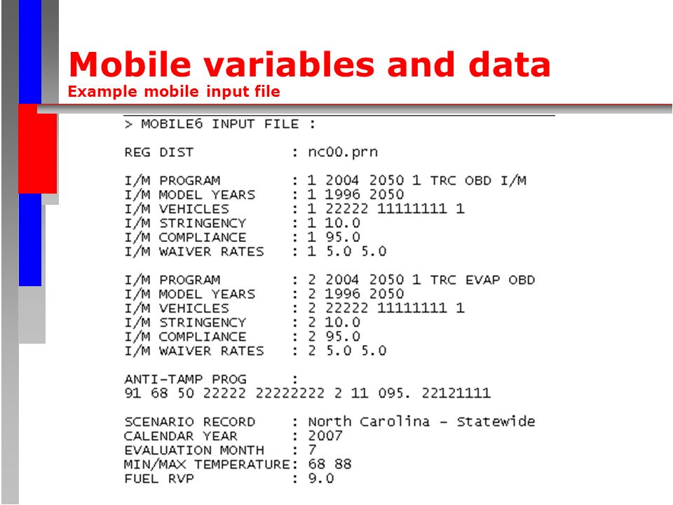 Mobile variables and data Example mobile input file