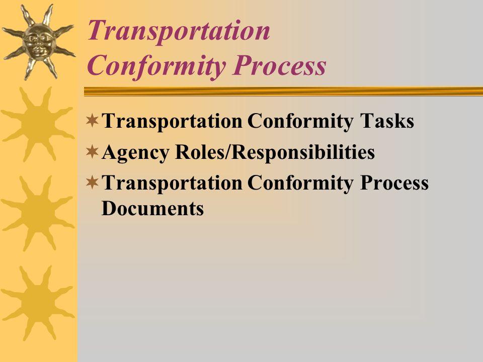 Transportation Conformity Process Transportation Conformity Tasks Agency Roles/Responsibilities Transportation Conformity Process Documents
