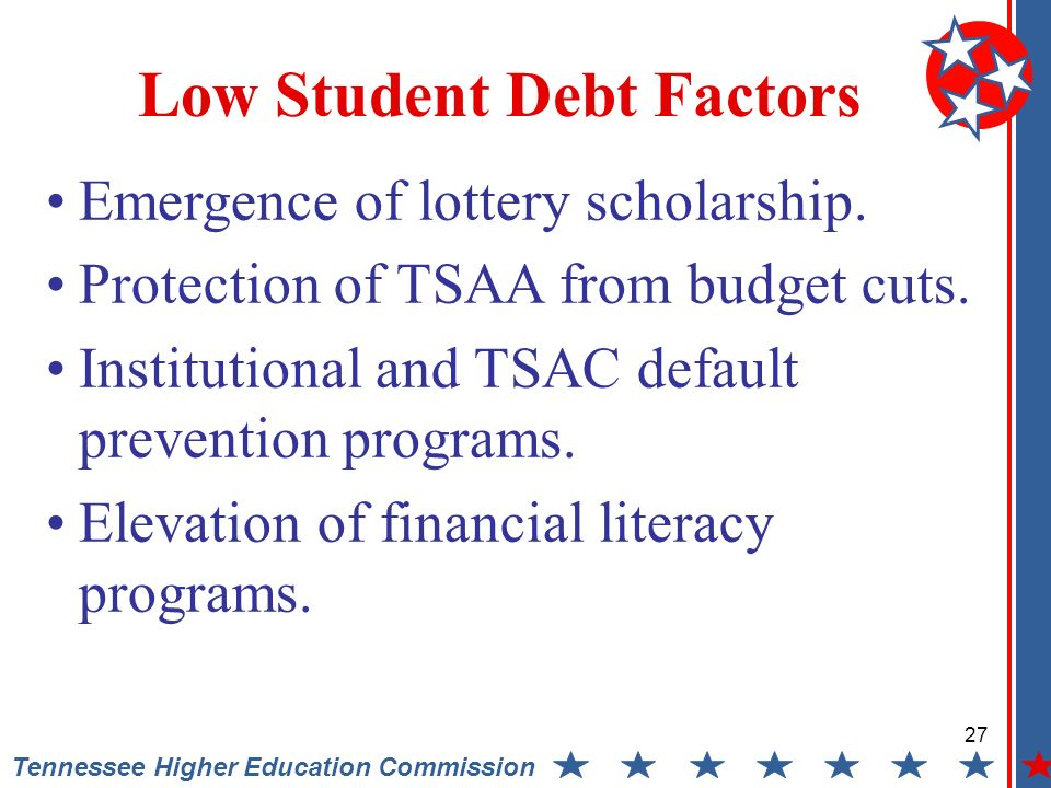 Tennessee Higher Education Commission Low Student Debt Factors Emergence of lottery scholarship. Protection of TSAA from budget cuts. Institutional an