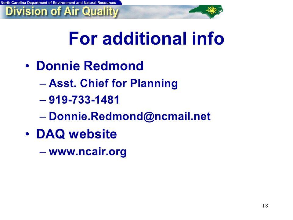 18 For additional info Donnie Redmond –Asst.