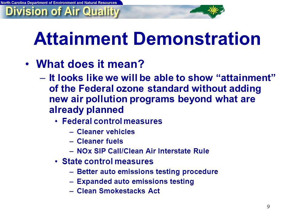 9 Attainment Demonstration What does it mean.