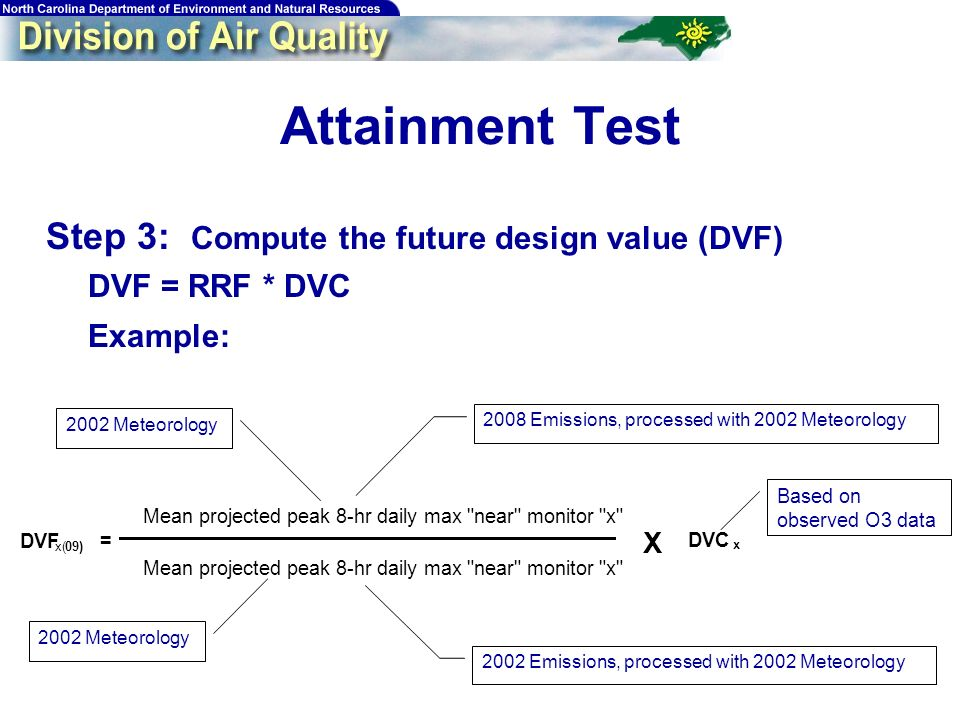 71 Attainment Test Step 3: Compute the future design value (DVF) DVF = RRF * DVC Example: DVF x(09) = Mean projected peak 8-hr daily max near monitor x DVC x X Based on observed O3 data 2002 Meteorology 2002 Emissions, processed with 2002 Meteorology 2002 Meteorology 2008 Emissions, processed with 2002 Meteorology