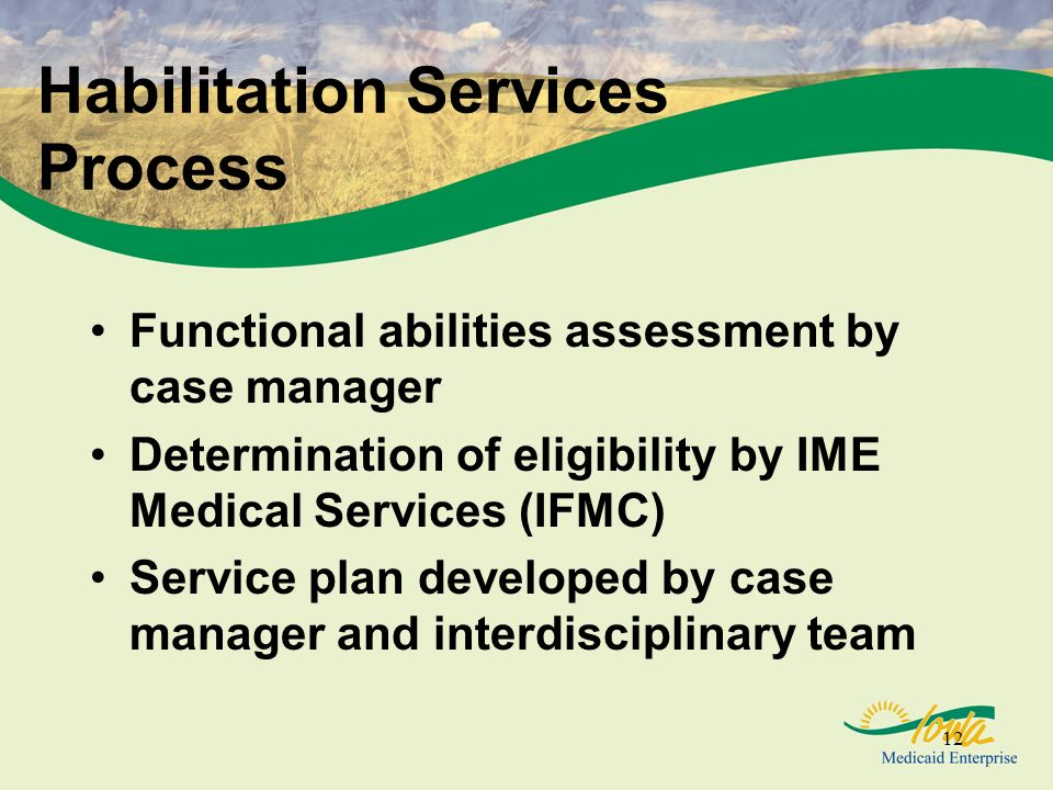 12 Habilitation Services Process Functional abilities assessment by case manager Determination of eligibility by IME Medical Services (IFMC) Service plan developed by case manager and interdisciplinary team