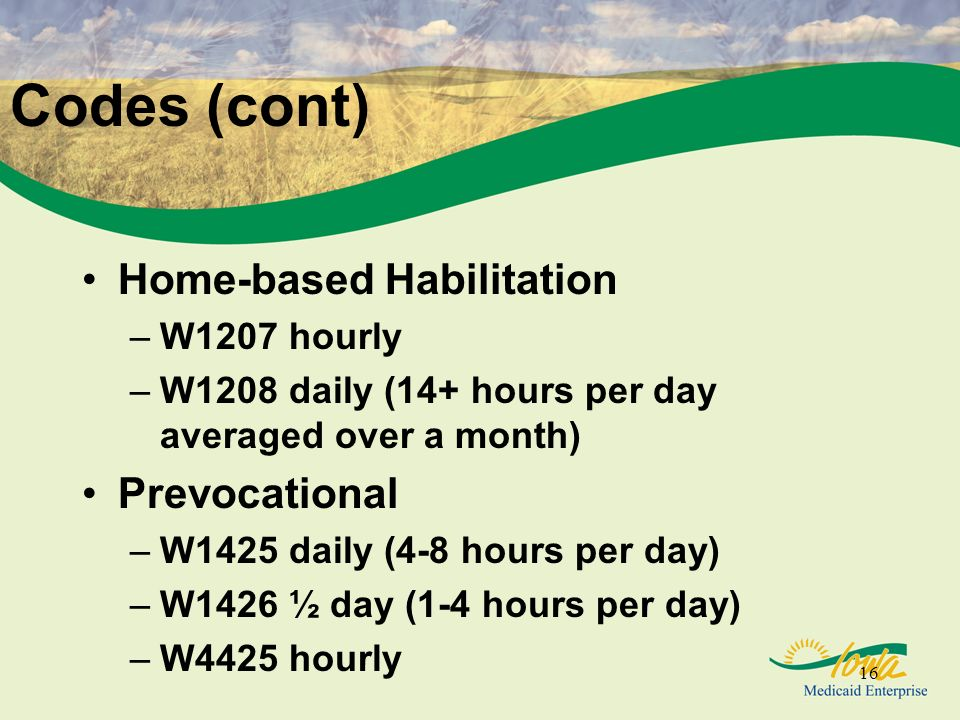 16 Codes (cont) Home-based Habilitation –W1207 hourly –W1208 daily (14+ hours per day averaged over a month) Prevocational –W1425 daily (4-8 hours per day) –W1426 ½ day (1-4 hours per day) –W4425 hourly