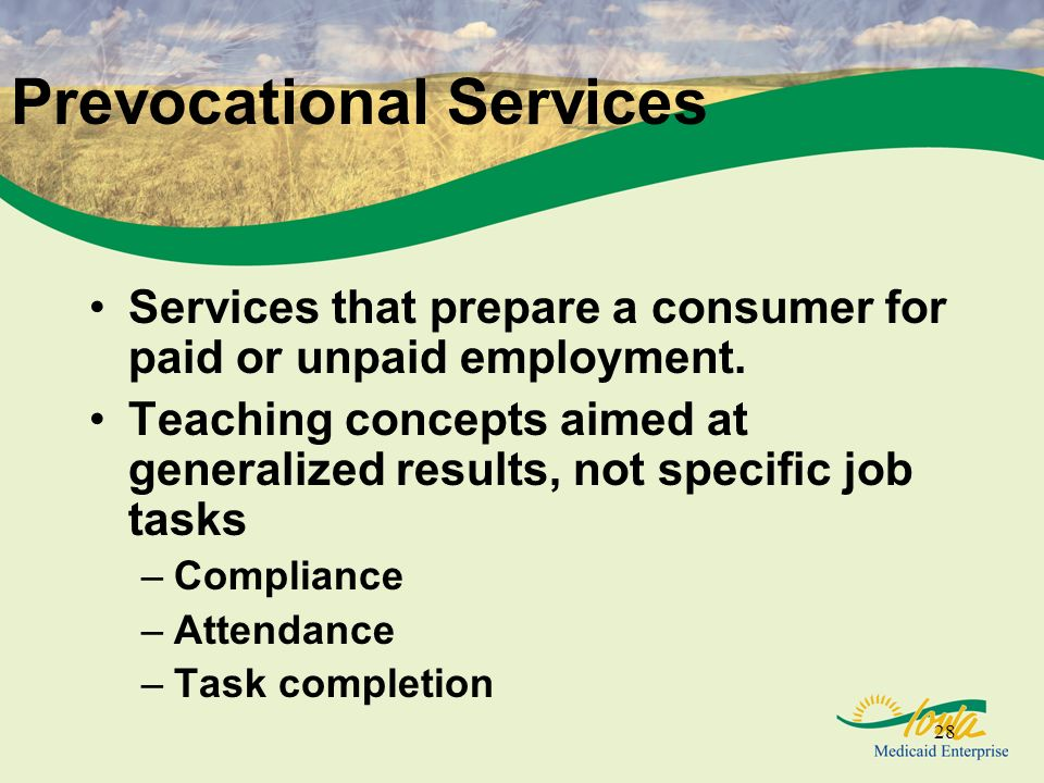 28 Prevocational Services Services that prepare a consumer for paid or unpaid employment.