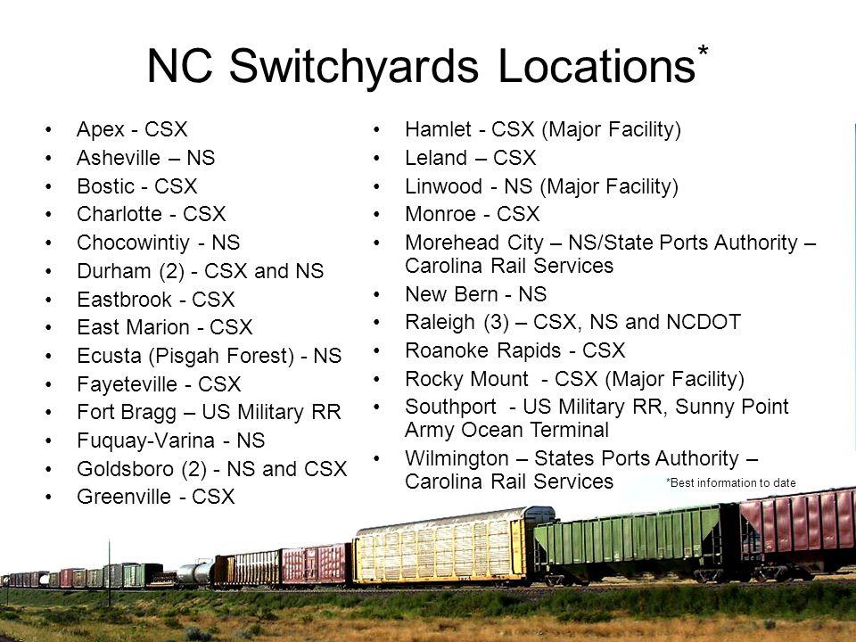 NC Switchyards Locations * Apex - CSX Asheville – NS Bostic - CSX Charlotte - CSX Chocowintiy - NS Durham (2) - CSX and NS Eastbrook - CSX East Marion