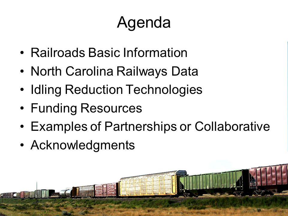 Agenda Railroads Basic Information North Carolina Railways Data Idling Reduction Technologies Funding Resources Examples of Partnerships or Collaborat