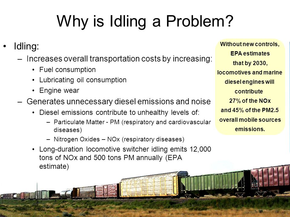 Why is Idling a Problem? Idling: –Increases overall transportation costs by increasing: Fuel consumption Lubricating oil consumption Engine wear –Gene