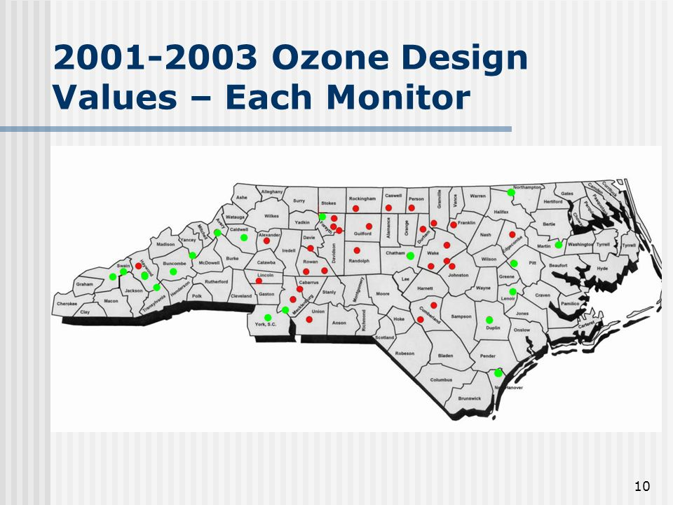 10 2001-2003 Ozone Design Values – Each Monitor