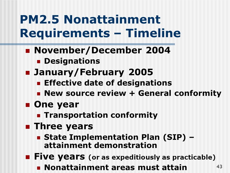 43 PM2.5 Nonattainment Requirements – Timeline November/December 2004 Designations January/February 2005 Effective date of designations New source rev