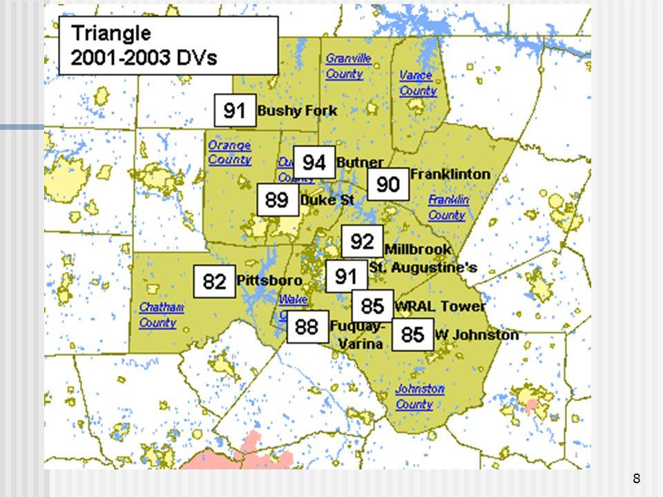 9 2001-2003 Ozone Design Values (Highest Value Per County)