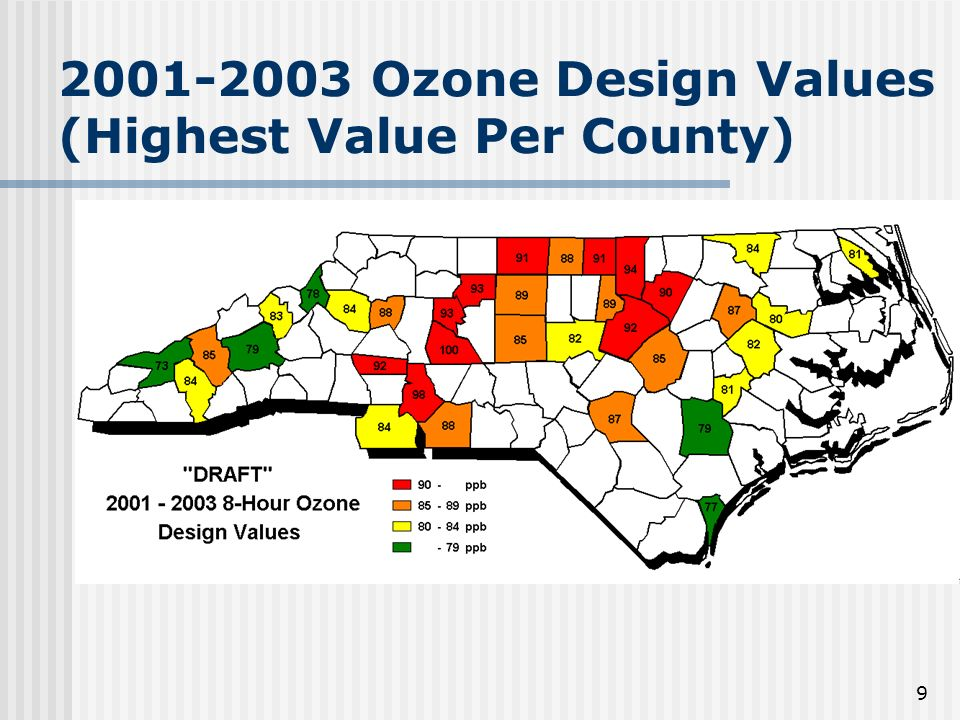 9 2001-2003 Ozone Design Values (Highest Value Per County)