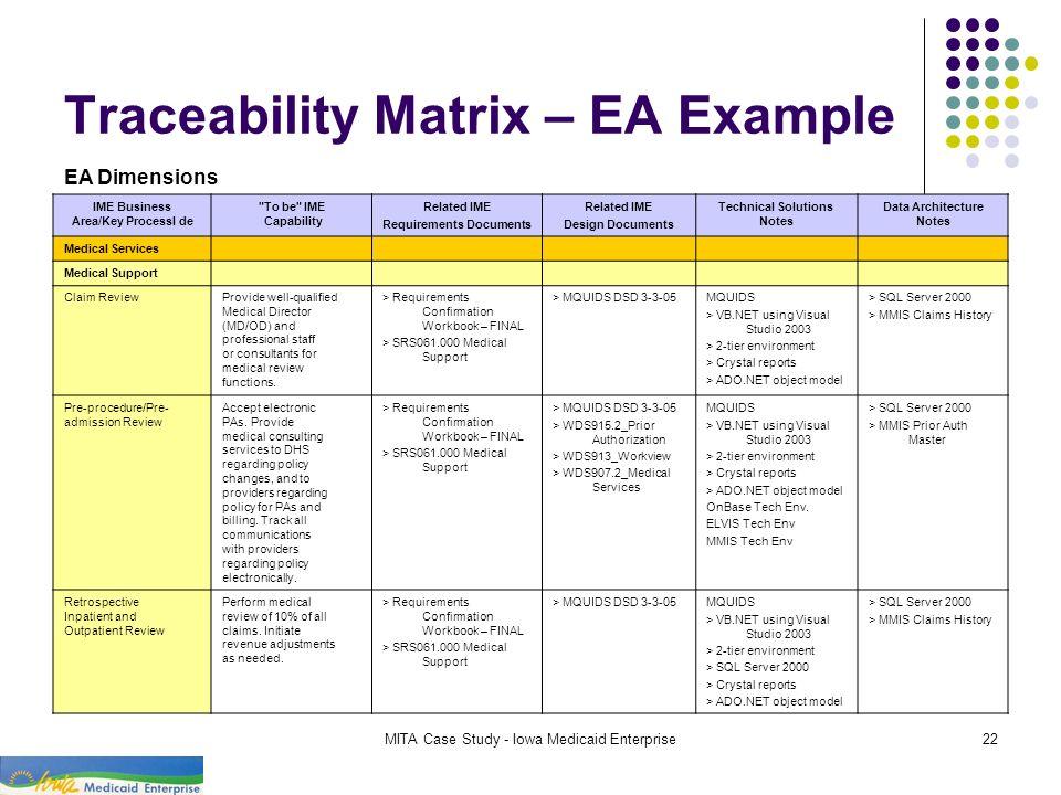 MITA Case Study - Iowa Medicaid Enterprise22 Traceability Matrix – EA Example IME Business Area/Key Processl de