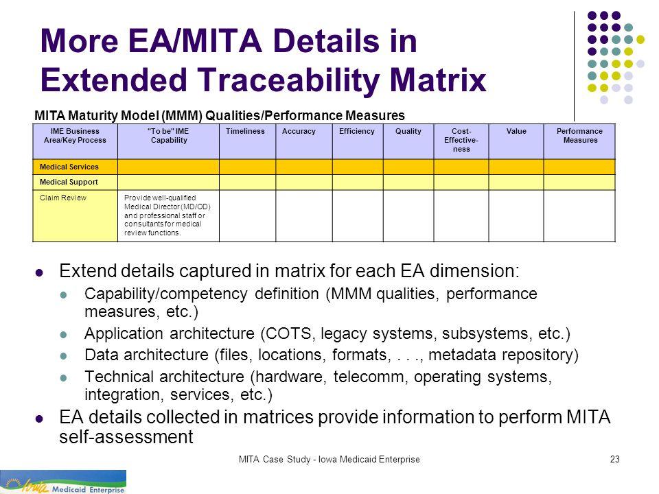 MITA Case Study - Iowa Medicaid Enterprise23 More EA/MITA Details in Extended Traceability Matrix IME Business Area/Key Process