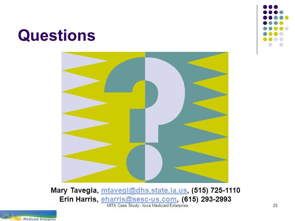 MITA Case Study - Iowa Medicaid Enterprise25 Questions Mary Tavegia, mtavegi@dhs.state.ia.us, (515) 725-1110mtavegi@dhs.state.ia.us Erin Harris, eharr