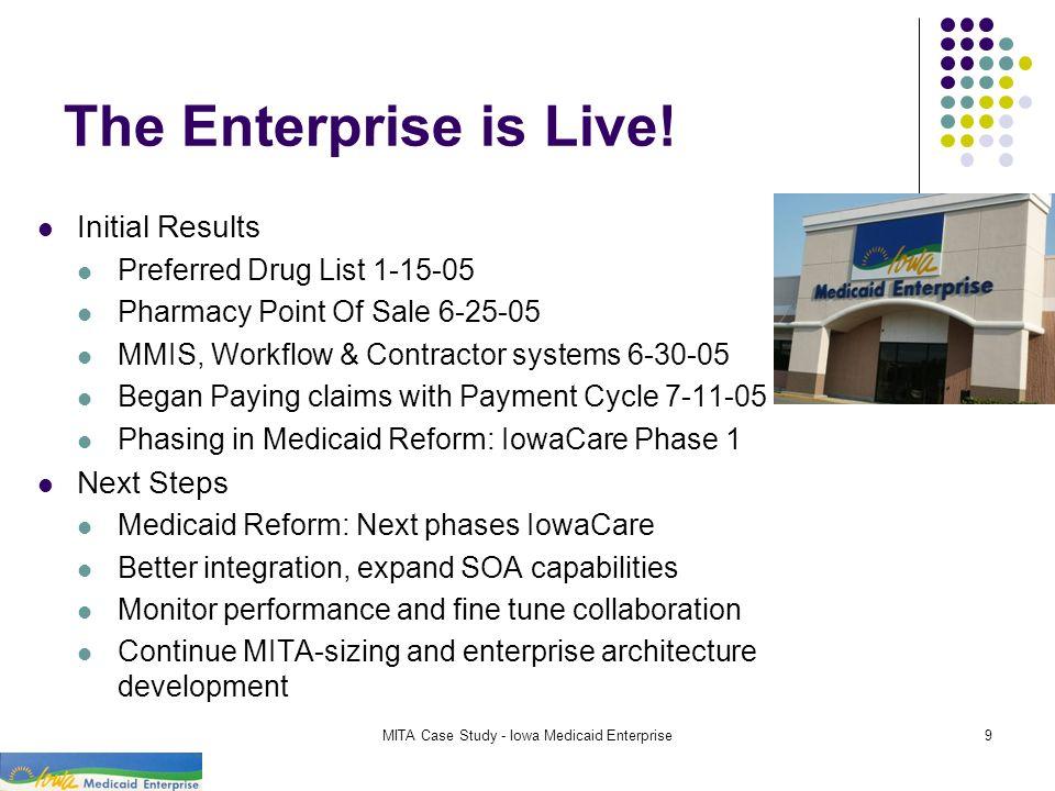 MITA Case Study - Iowa Medicaid Enterprise9 The Enterprise is Live! Initial Results Preferred Drug List 1-15-05 Pharmacy Point Of Sale 6-25-05 MMIS, W