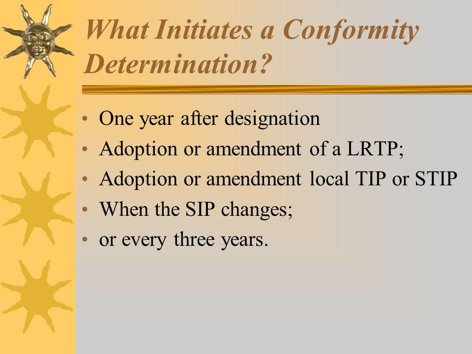 What Initiates a Conformity Determination.