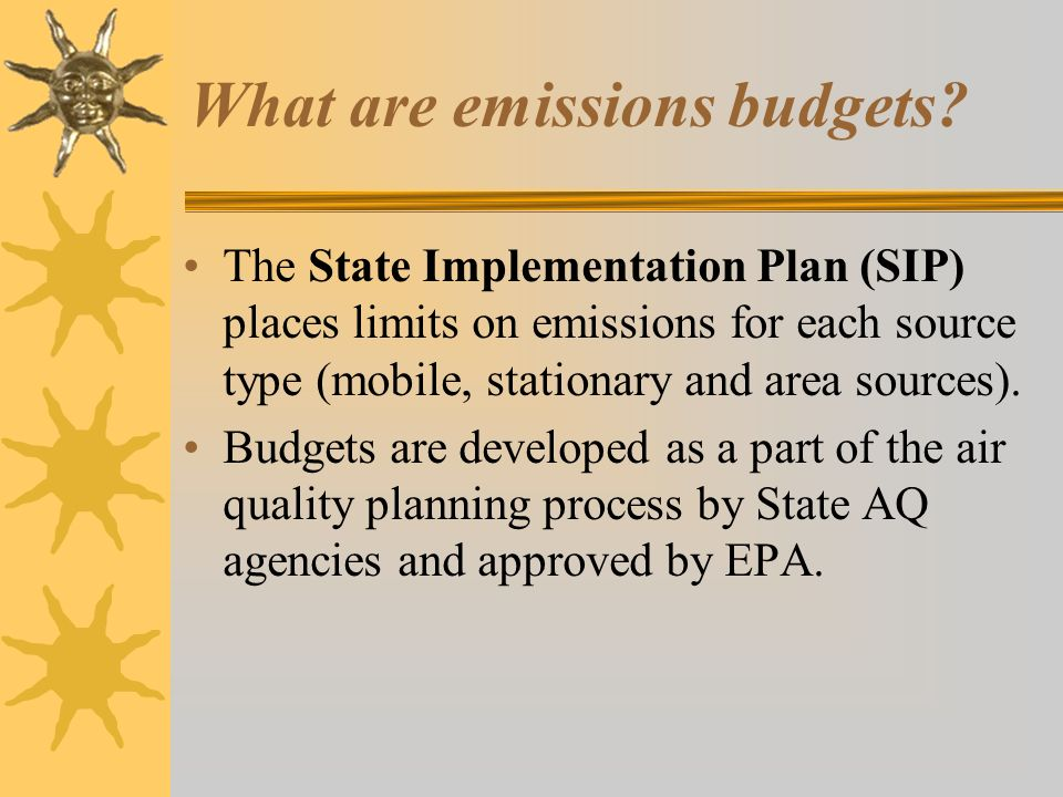 What are emissions budgets.