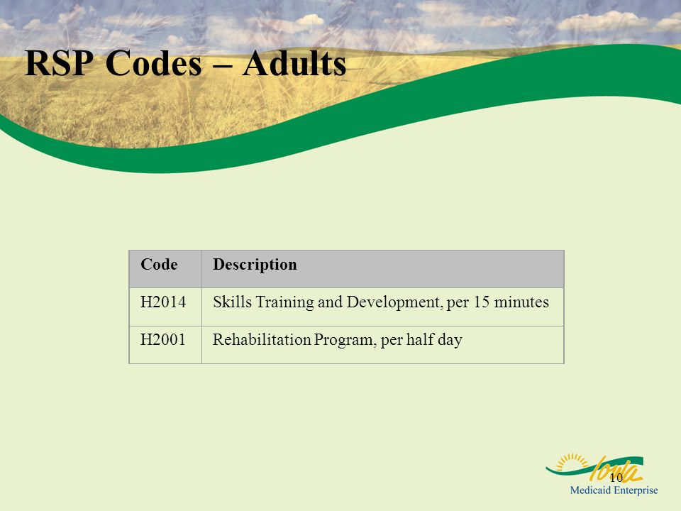 10 RSP Codes – Adults CodeDescription H2014Skills Training and Development, per 15 minutes H2001Rehabilitation Program, per half day