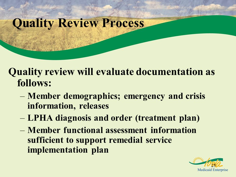 25 Quality Review Process Quality review will evaluate documentation as follows: –Member demographics; emergency and crisis information, releases –LPHA diagnosis and order (treatment plan) –Member functional assessment information sufficient to support remedial service implementation plan