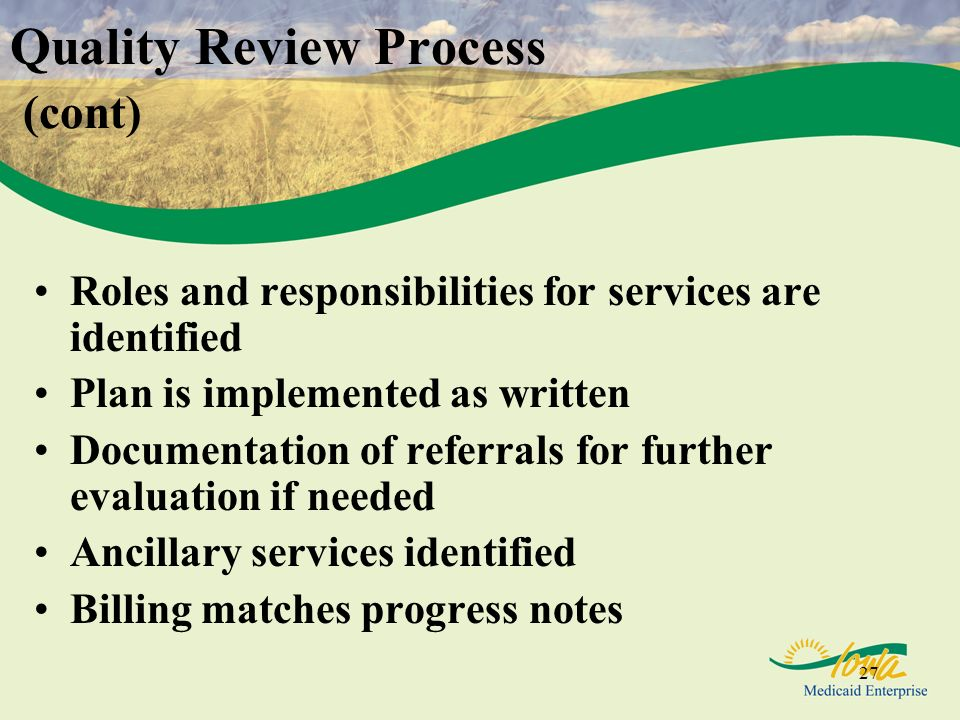 27 Quality Review Process (cont) Roles and responsibilities for services are identified Plan is implemented as written Documentation of referrals for further evaluation if needed Ancillary services identified Billing matches progress notes