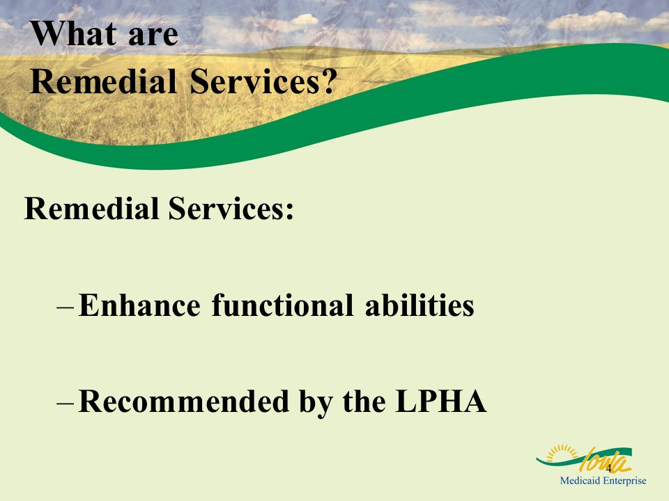 4 Remedial Services: –Enhance functional abilities –Recommended by the LPHA What are Remedial Services?