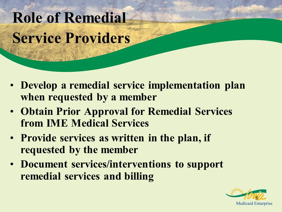 8 Role of Remedial Service Providers Develop a remedial service implementation plan when requested by a member Obtain Prior Approval for Remedial Services from IME Medical Services Provide services as written in the plan, if requested by the member Document services/interventions to support remedial services and billing