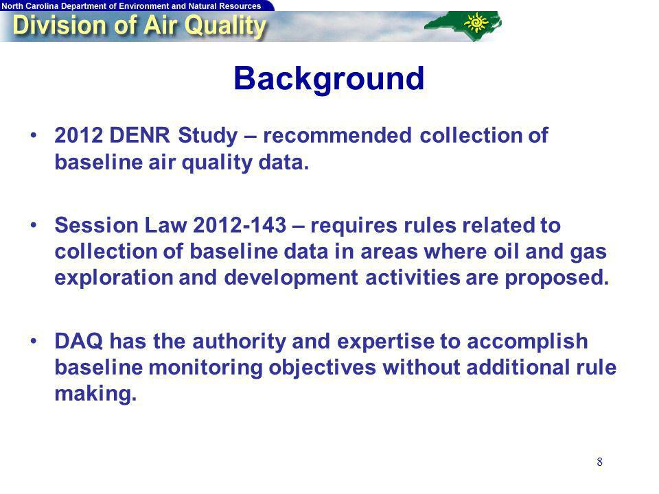 8 Background 2012 DENR Study – recommended collection of baseline air quality data. Session Law 2012-143 – requires rules related to collection of bas