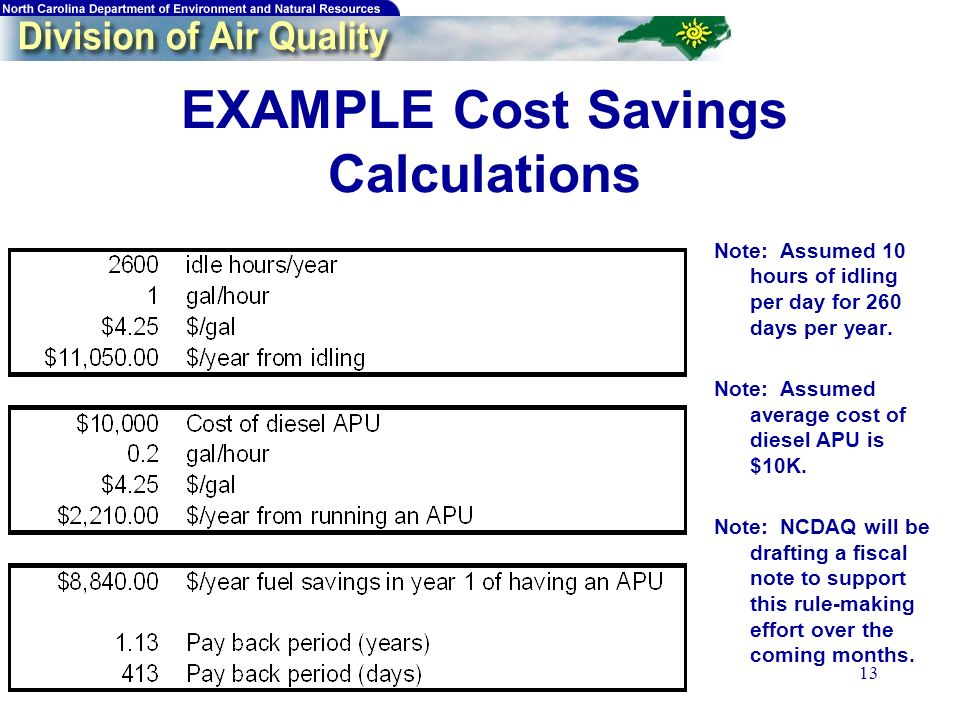 13 EXAMPLE Cost Savings Calculations Note: Assumed 10 hours of idling per day for 260 days per year.