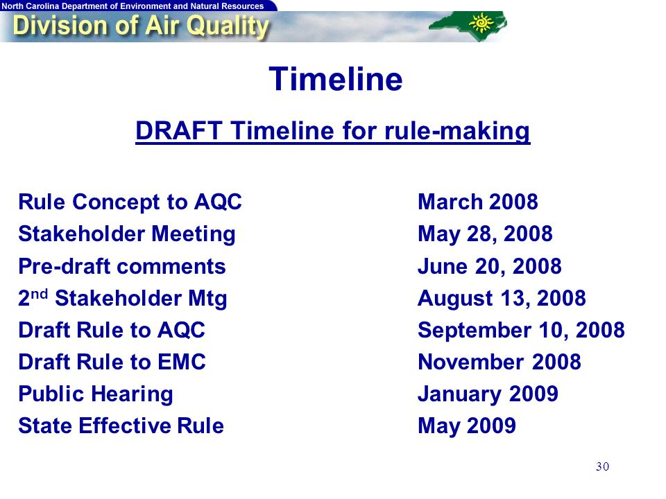 30 Timeline DRAFT Timeline for rule-making Rule Concept to AQCMarch 2008 Stakeholder MeetingMay 28, 2008 Pre-draft commentsJune 20, 2008 2 nd Stakeholder MtgAugust 13, 2008 Draft Rule to AQCSeptember 10, 2008 Draft Rule to EMCNovember 2008 Public HearingJanuary 2009 State Effective RuleMay 2009