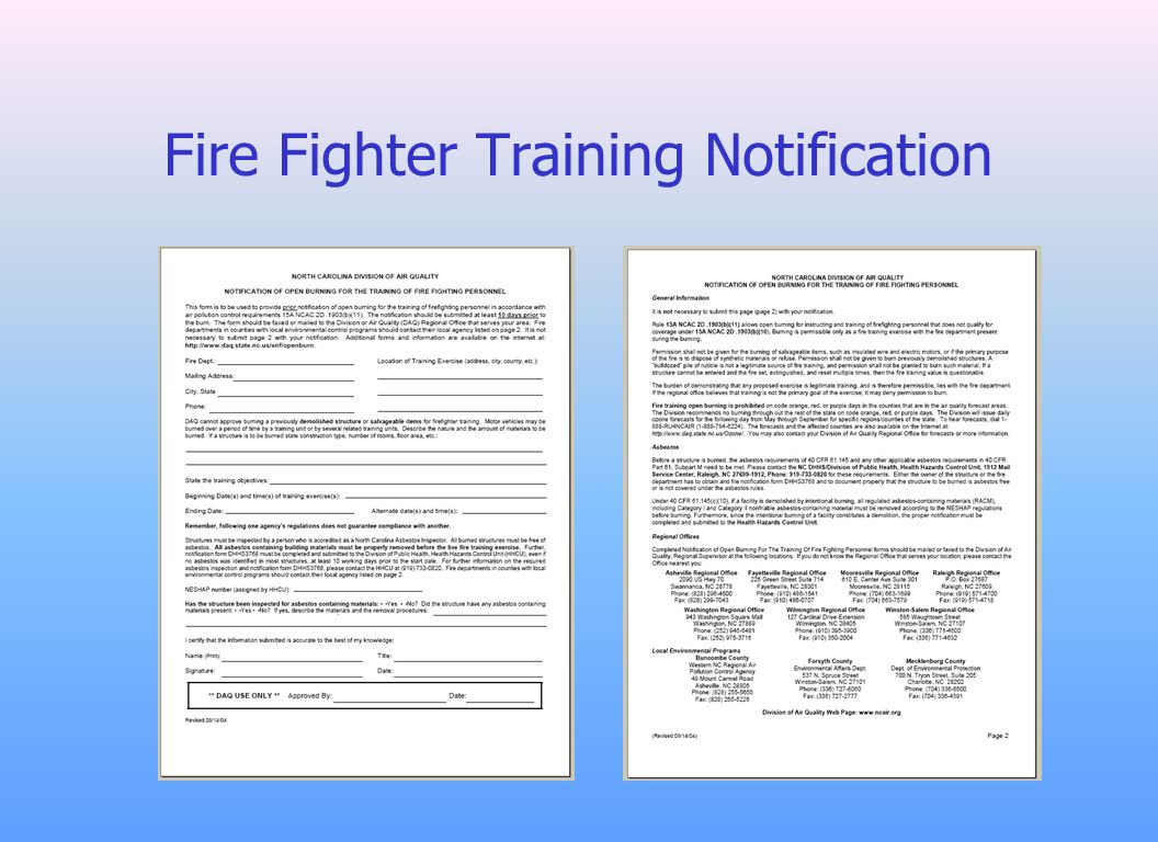 Fire Fighter Training Notification